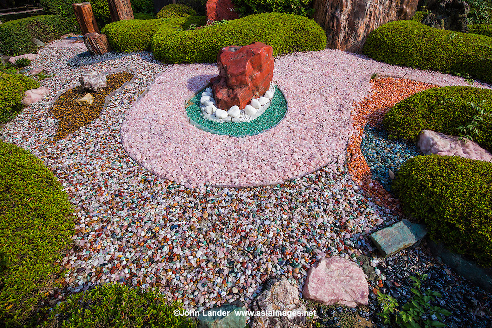 Yamanashi Prefecture is famous for its rock crystals and many world-class lapidary experts.  It should not be surprising that a rock garden, for which the Japanese are famous, should be born.  The main difference here is that the stones are not austere white pebbles, but multicolored ones from local crystals.  The Jewel Dream Garden is run by a local jewelry company that sponsors it and the adjacent Jewelry Museum.