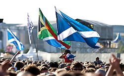 Flags and fans of Jamie T on the NME stage, Friday at T in the Park 2010..Pic ©2010 Michael Schofield. All Rights Reserved.