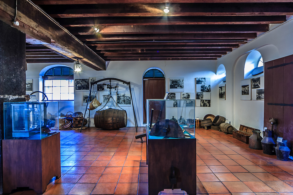 Madeira Wine Institute and Museum in Funchal, Madeira. <br /> The wine museum founded in 1984 shows pictures and machinery used in the vineyards and Madeira wine production.