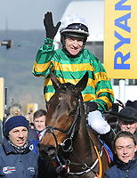 National Hunt Horse Racing - 2019 Cheltenham Festival - Thursday, Day Three (St Patrick's Day)<br /> <br /> Barry Geraghty on Sire Du Berlais enters the winners enclosure in the 14.10 Pertemps Network Final Hanicap Hurdle race (Grade 3, Class 1), at Cheltenham Racecourse.<br /> <br /> COLORSPORT/ANDREW COWIE