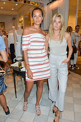 Left to right, PHOEBE COLLINGS JAMES and CAMILLE CHARRIERE at the Club Monaco Summer Cocktail party held at their store at 33 Sloane Square, London on 20th July 2016.