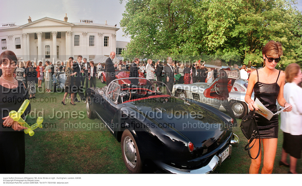 Louis Vuitton Concours d'Elegance '98. Anne Stride on right . Hurlingham, London. 6/6/98. <br /> © Copyright Photograph by Dafydd Jones<br /> 66 Stockwell Park Rd. London SW9 0DA<br /> Tel 0171 733 0108