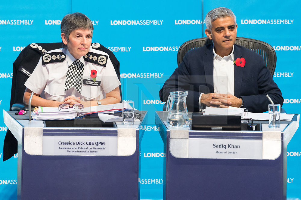 © Licensed to London News Pictures. 01/11/2018. London, UK. Cressida Dick CBE QPM, Commissioner of the Metropolis and London Mayor Sadiq Khan attend a London Assembly meeting on crime in the capital covering topics including tackling crime, future challenges for policing, tackling violence against women and girls and reducing road crime. Photo credit: Ray Tang/LNP