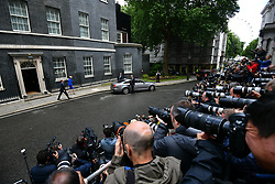 © Licensed to London News Pictures. 09/06/2017. London, UK. THERESA MAY leaves Downing Street to meet with the Queen , the morning of the general election results in which the Conservative Party made substantial losses. Photo credit: Ben Cawthra/LNP