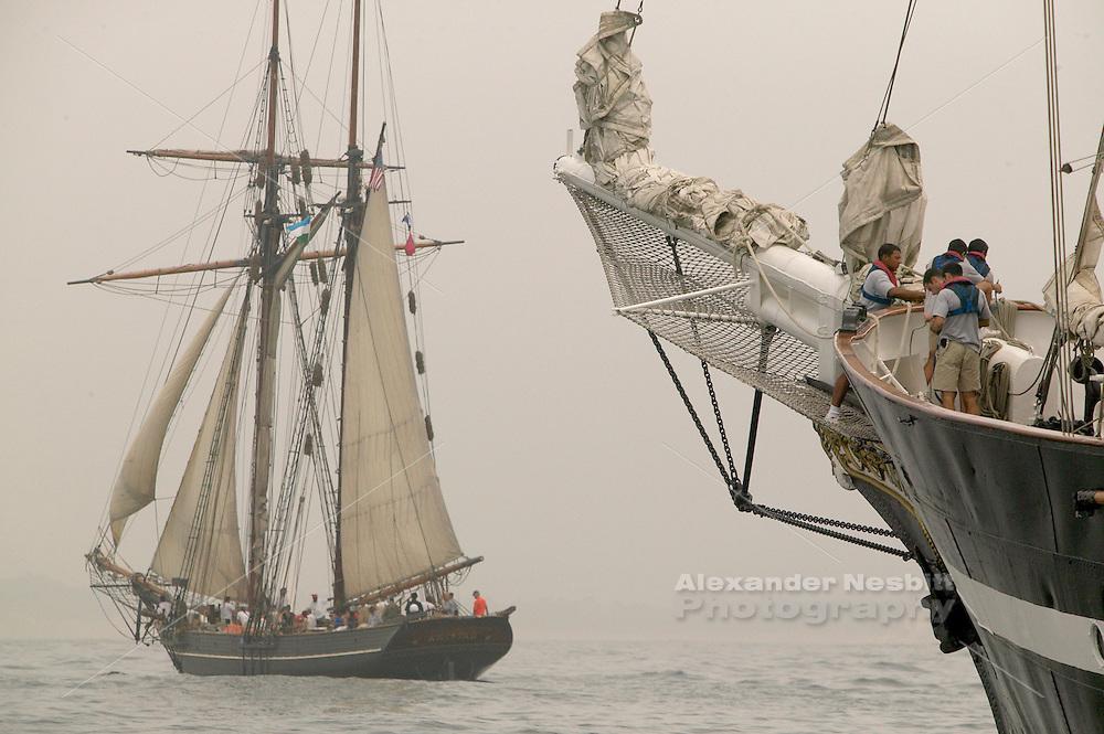 Newport, RI 2004 - Tallship 'Amistad' sails in the fog on Narragansett bay near Newport