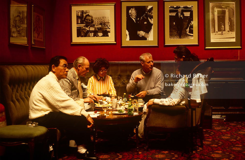 Friends sit down for lunch in the bar at Blackpool's Imperial Hotel. Surrounded by visiting political figures such as past Prime Ministers Margaret Thatcher, Edward Heath and Harold Wilson who have in the past come to this seaside town for their annual party political conferences. .