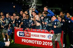 Bury celebrates after the final whistle of the match - Mandatory by-line: James Healey/JMP - 30/04/2019 - FOOTBALL - Prenton Park - Birkenhead, England - Tranmere Rovers v Bury - Sky Bet League Two