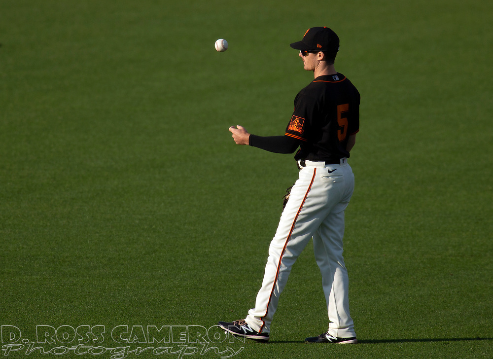 San Francisco Giants center fielder Mike Yastrzemski (5) flips the ball to himself while awaiting the resumption of play against the Los Angeles Dodgers during the sixth inning of a baseball game on Thursday, Aug. 27, 2020 in San Francisco, Calif. (D. Ross Cameron/SF Chronicle)