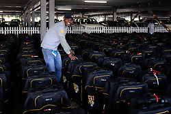 Rider bags await their owners at the collection point during the pre race events held at the V&A Waterfront in Cape Town prior to the start of the 2017 Absa Cape Epic Mountain Bike stage race held in the Western Cape, South Africa between the 19th March and the 26th March 2017<br /> <br /> Photo by Emma Hill/Cape Epic/SPORTZPICS<br /> <br /> PLEASE ENSURE THE APPROPRIATE CREDIT IS GIVEN TO THE PHOTOGRAPHER AND SPORTZPICS ALONG WITH THE ABSA CAPE EPIC<br /> <br /> ace2016