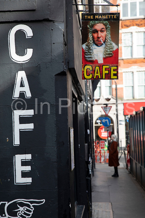 Exterior of The Manette Cafe in Soho on 18th February 2020 in London, England, United Kingdom. Manette Street, which connects Greek Street, Soho to the busy thoroughfare of Charing Cross Road, dates from the late 17th Century when it bore its original name of Rose Street.
