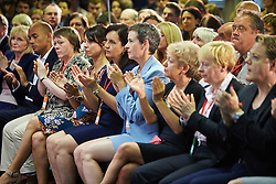 © Licensed to London News Pictures.  19/07/2014. Milton Keynes, UK. Labour party members listening to a speech by leader Ed Miliband (not seen) at the 2014 National Policy Forum (NPF) being held at the Kents Hill Training Centre in Milton Keynes. Photo credit: Cliff Hide/LNP