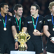 New Zealand players on the presentation podium, left to right, Jerome Kaino, Stephen Donald, Richard Kahui and Adam Thomson during the New Zealand V France Final at the IRB Rugby World Cup tournament, Eden Park, Auckland, New Zealand. 23rd October 2011. Photo Tim Clayton...