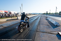 Chris Callen racing his War Pony at the 4th Annual Baker Drivetrain All-in to go All-out free run what you brung drag race event at the Sturgis Speedway during the 78th annual Sturgis Motorcycle Rally. Sturgis, SD. USA. Tuesday August 7, 2018. Photography ©2018 Michael Lichter.