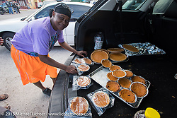 """Sweet potato pies ready for sale at the """"Biking on the Boulevard"""" event during Daytona Beach Bike Week 2015. FL, USA. March 14, 2015.  Photography ©2015 Michael Lichter."""
