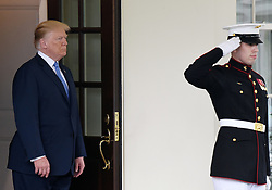 U.S President Donald Trump welcomes Chancellor Merkel of Germany outside the West Wing Lobby of the White House in Washington, DC, on April 27, 2018. Photo by Olivier Douliery/Abaca Press