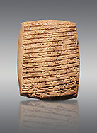Hittite cuneiform tablet. Adana Archaeology Museum, Turkey. Against a grey background .<br /> <br /> If you prefer to buy from our ALAMY STOCK LIBRARY page at https://www.alamy.com/portfolio/paul-williams-funkystock/hittite-art-antiquities.html . Type - Adana - in LOWER SEARCH WITHIN GALLERY box. Refine search by adding background colour, place, museum etc.<br /> <br /> Visit our HITTITE PHOTO COLLECTIONS for more photos to download or buy as wall art prints https://funkystock.photoshelter.com/gallery-collection/The-Hittites-Art-Artefacts-Antiquities-Historic-Sites-Pictures-Images-of/C0000NUBSMhSc3Oo