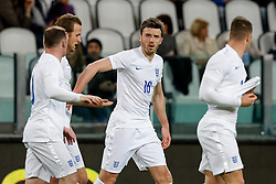 Michael Carrick of England celebrates after Andros Townsend (not seen) scores a goal to make it 1-1 - Photo mandatory by-line: Rogan Thomson/JMP - 07966 386802 - 31/03/2015 - SPORT - FOOTBALL - Turin, Italy - Juventus Stadium - Italy v England - FIFA International Friendly Match.