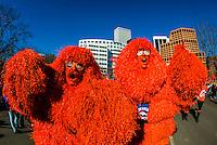 The Mile High Monster (a SUPER FAN), Denver Broncos Super Bowl 50 victory parade in Downtown Denver, Colorado USA
