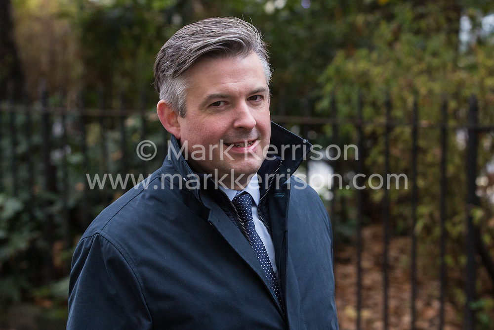 London, UK. 16 November, 2019. Jonathan Ashworth, Shadow Health Secretary, arrives at Labour's Clause V meeting. The Clause V meeting, chaired by the party leader and attended by members of the National Executive Committee (NEC), relevant Shadow Cabinet members and members of the National Policy Forum, will finalise the party's general election manifesto. The meeting is named after Clause V of the Labour Party rulebook.