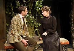 The Last of the De Mullins<br /> by St. John Hankin<br /> directed by Joshua Stamp-Simon<br /> Designed by Victoria Johnstone<br /> Music by Ricky Whales<br /> Produced by Stephen McGill and Joel Marvin <br /> at the Jermyn Street Theatre, London, Great Britain <br /> press photocall <br /> 4th February 2015 <br /> <br /> <br /> Benjamin Fisher as Monty Bulstead <br /> Charlotte Powell as Janet Du Mullin <br /> <br /> <br /> Photograph by Elliott Franks <br /> Image licensed to Elliott Franks Photography Services