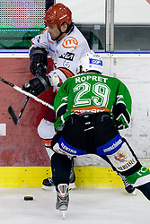 Todd Elik of Acroni Jesenice vs Anze Ropret of Tilia Olimpija at 6th Round of ice-hockey Slovenian National Championships match between HDD Tilia Olimpija and HK Acroni Jesenice, on April 2, 2010, Hala Tivoli, Ljubljana, Slovenia.  Acroni Jesenice won 3:2 after overtime and became Slovenian National Champion 2010. (Photo by Vid Ponikvar / Sportida)