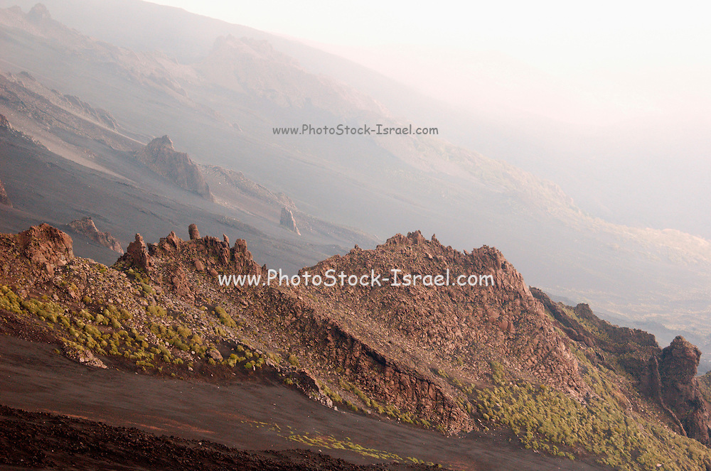Valle del Bove, on the Southern slopes of Mount Etna, The highest and most active volcano in Europe, Nicolosi, Sicily, Italy July 2006