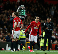 Henrikh Mkhitaryan of Manchester United comes on for Michael Carrick of Manchester United during the English Premier League match at Old Trafford Stadium, Manchester. Picture date: April 4th 2017. Pic credit should read: Simon Bellis/Sportimage
