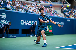 August 28, 2018 - Flushing Meadow, NY, U.S. - FLUSHING MEADOW, NY - AUGUST 28: NOVAK DJOKOVIC (SRB) day two of the 2018 US Open on August 28, 2018, at Billie Jean King National Tennis Center in Flushing Meadow, NY. (Photo by Chaz Niell/Icon Sportswire) (Credit Image: © Chaz Niell/Icon SMI via ZUMA Press)