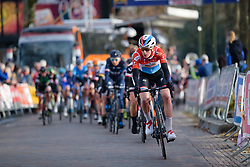 Christine Majerus leasd the chase at Drentse 8 van Westerveld 2018 - a 142 km road race on March 9, 2018, in Dwingeloo, Netherlands. (Photo by Sean Robinson/Velofocus.com)