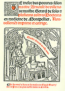 Title page of 'Le Tresor des Pouvres', Lyons, 1527 by Arnaldus of Villanova. Arnaldus (1235-1311), Catalan astrologer,  alchemist, physician, and translator of medical texts from the Arabic.