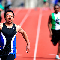 033013       Adron Gardner<br /> <br /> Laguna Acoma Hawk David McGee hustles to the finish line at the front of the pack in a boys 100m heat during the Gallup Invitational at Public School Stadium Saturday.