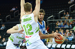 Goran Dragic of Slovenia and Zoran Dragic of Slovenia vs Georgios Printezis of Greece during friendly match between National Teams of Slovenia and Greece before World Championship Spain 2014 on August 17, 2014 in Kaunas, Lithuania. Photo by Robertas Dackus / Sportida.com