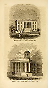 Masonic hall (Top) Medical Hall (Bottom), Lexington, KY from the book ' Historical Sketches Of Kentucky (1847) ' ITS HISTORY, ANTIQUITIES, AND NATURAL CURIOSITIES, GEOGRAPHICAL, STATISTICAL, AND GEOLOGICAL DESCRIPTIONS. WITH ANECDOTES OF PIONEER LIFE By Lewis Collins. Published by Lewis Collins, Maysville, KY. and J. A. & U. P. James Cincinnati. in 1847