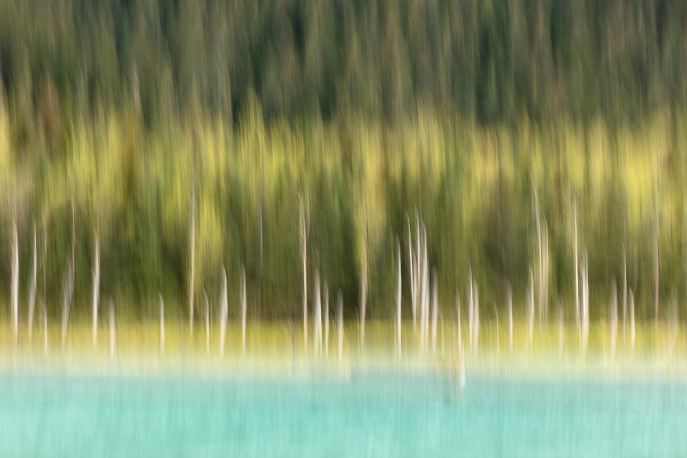 In-camera motion blur of Explorer Pond in the Chugach National Forest in Southcentral Alaska. Spring. Afternoon.
