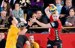 Seong Ok OH of Hypo vs Tamara Mavsar of Krim at handball match of Round 3 of Champions League between RK Krim Mercator and Hypo Niederosterreich, on November 8, 2009, in Arena Kodeljevo, Ljubljana, Slovenia.  Krim won 35:24. (Photo by Vid Ponikvar / Sportida)