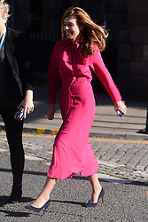 © Licensed to London News Pictures. 02/10/2019. London, UK. Carrie Symonds arrive to attend Conservative party leader Boris Johnson arrives to make a keynote speech at the end of the Conservative party conference. Photo credit: Ray Tang/LNP
