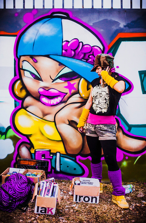 Japanese graffiti queen Shiro was one of the international artists painting murals in Miami's graffiti-friendly Wynwood district during Art Week 2010.
