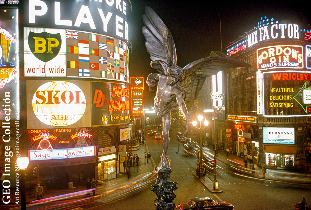 An Angel of Christian Charity breaks the view of Piccadilly Circus.