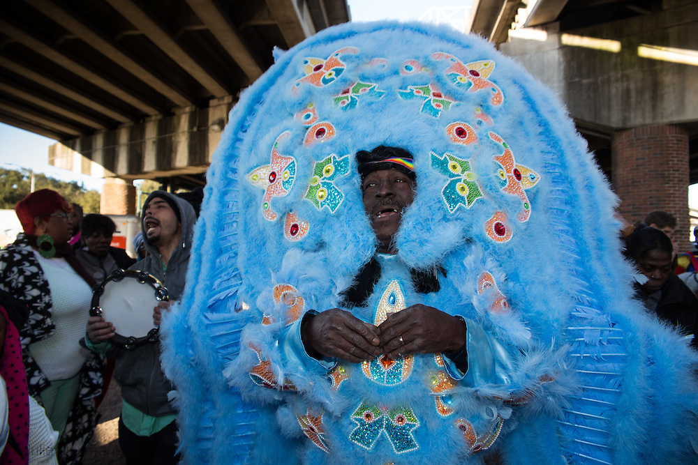 2/17/15, New Orleans, LA, Mardi Gras Day,  Mardi Gras Indians in the United Nation Tribe, lead their own Mardi Gras Parade.