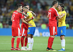 MOSCOW, June 27, 2018  Players of Brazil and Serbia greet each other after the 2018 FIFA World Cup Group E match between Brazil and Serbia in Moscow, Russia, June 27, 2018. Brazil won 2-0 and advanced to the round of 16. (Credit Image: © Xu Zijian/Xinhua via ZUMA Wire)