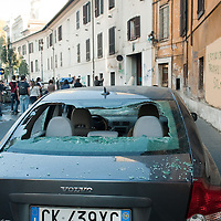 """Rome, Italy  !5th October During today """"Occupy"""" protes hundreds of hooded, masked demonstrators rampaged in some of the worst violence seen in the Italian capital in years, setting cars ablaze, breaking bank and shop windows and destroying traffic lights and signposts. ..HOW TO LICENCE THIS PICTURE: please contact us via e-mail at sales@xianpix.com or call our offices in Milan at (+39) 02 400 47313 or London   +44 (0)207 1939846 for prices and terms of copyright. First Use Only ,Editorial Use Only, All repros payable, No Archiving.© MARCO SECCHI"""