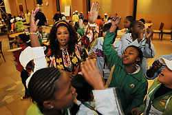 5229<br /> 09.6.17<br /> Oprah Winfrey enjoys a boogie with students during Oprah Winfrey Leadership Academy for Girls' Arts Workshop week, during which the students were given a taste of a variety of disciplines in the arts. The school in Henley-On-Klip, has about 300 pupils from disadvantaged backgrounds, all of whom have shown academic promise.<br /> Picture: Cara Viereckl