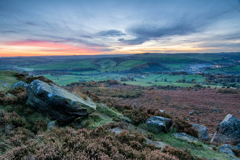 Looking out from Baslow Edge, Peak District.