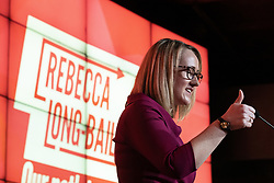 © Licensed to London News Pictures. 17/01/2020. Manchester, UK. RECECCA LONG-BAILEY gives up thumbs up for her home constituency of Salford as she delivers a speech and holds a Q&A session . Salford & Eccles MP Rebecca Long-Bailey launches her campaign to succeed Jeremy Corbyn in the race for Labour Party leadership , at an event in the Museum of Science and Industry in Manchester City Centre . Photo credit: Joel Goodman/LNP