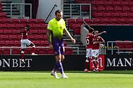GOAL 2-0 Bristol City's Antoine Semenyo (18) celebrates scoring his sides second goal during the EFL Cup match between Bristol City and Exeter City at Ashton Gate, Bristol, England on 5 September 2020.