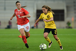 October 9, 2018 - Biel, SWITZERLAND - Switzerland's midfielder Viola Calligaris and Belgium's Davina Philtjens pictured in action during a soccer game between Switzerland and Belgium's national team the Red Flames, Tuesday 09 October 2018, in Biel, Switzerland, the return leg of the play-offs qualification games for the women's 2019 World Cup. BELGA PHOTO DAVID CATRY (Credit Image: © David Catry/Belga via ZUMA Press)