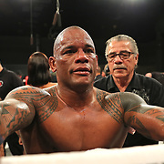 FORT LAUDERDALE, FL - FEBRUARY 16: Hector Lombard celebrates with his team after a victory over David Mundell during the Bare Knuckle Fighting Championships at Greater Fort Lauderdale Convention Center on February 16, 2020 in Fort Lauderdale, Florida. (Photo by Alex Menendez/Getty Images) *** Local Caption *** Hector Lombard; David Mundell