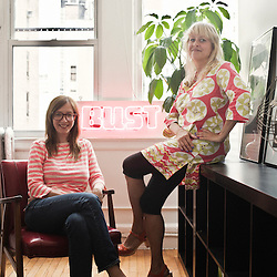 NEW YORK, NY. JUNE 2010, 17. .Bust Magazine cofounders Debbie Stoller and Laurie Henzel (art department) in their offices in Manhattan, New York, NY.  ..(Photo by Antoine Doyen)