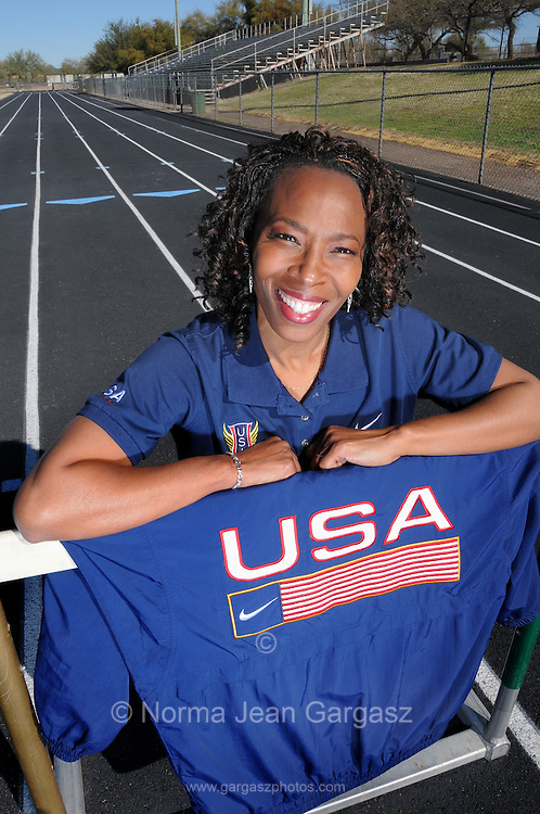 LaTanya Sheffield, Olympian, works with children to help overcome childhood obesity in Tucson, Arizona, USA.