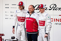 February 18, 2019 - Montmelo, BARCELONA, Spain - Frederic Vasseur Team Chief of Alfa Romeo Racing with his dirivers Kimi Raikkonen from Finland with 07 Alfa Romeo Racing and Antonio Giovinazzi from Italy with 99 Alfa Romeo Racing portrait during the Formula 1 2019 Pre-Season Tests at Circuit de Barcelona - Catalunya in Montmelo, Spain on February 18. (Credit Image: © AFP7 via ZUMA Wire)